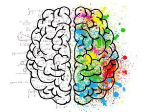 colorful drawing of a human brain