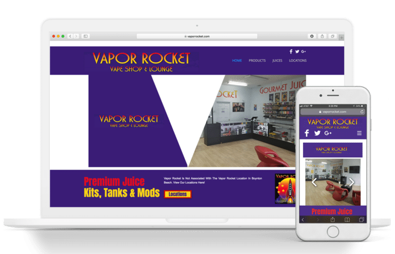 vapor rocket website design image