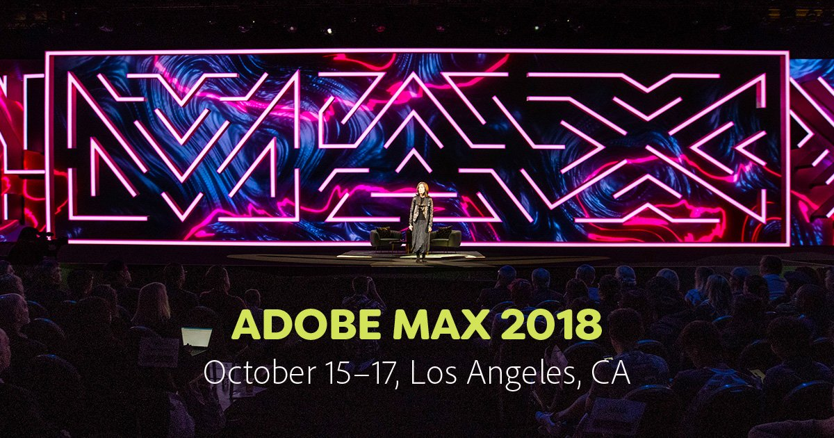 Adobe MAX 2018 Ad with a photo of the MAX conference stage