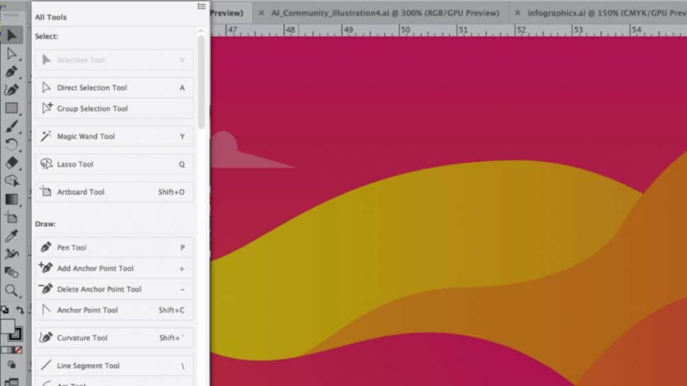 Screenshot of Illustrator's new customizable Tools menu