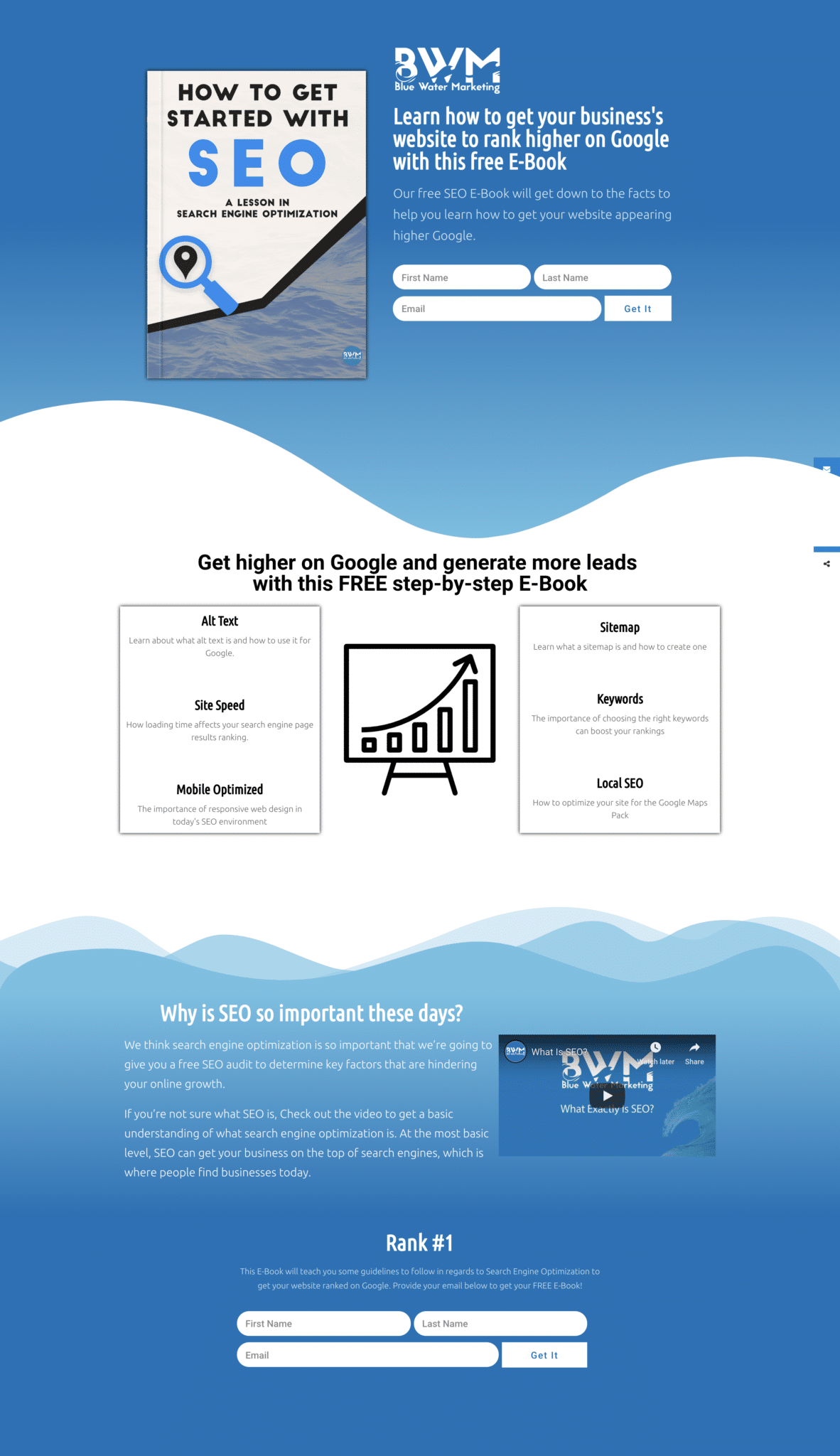 Blue Water Marketing Free EBook About SEO Landing Page