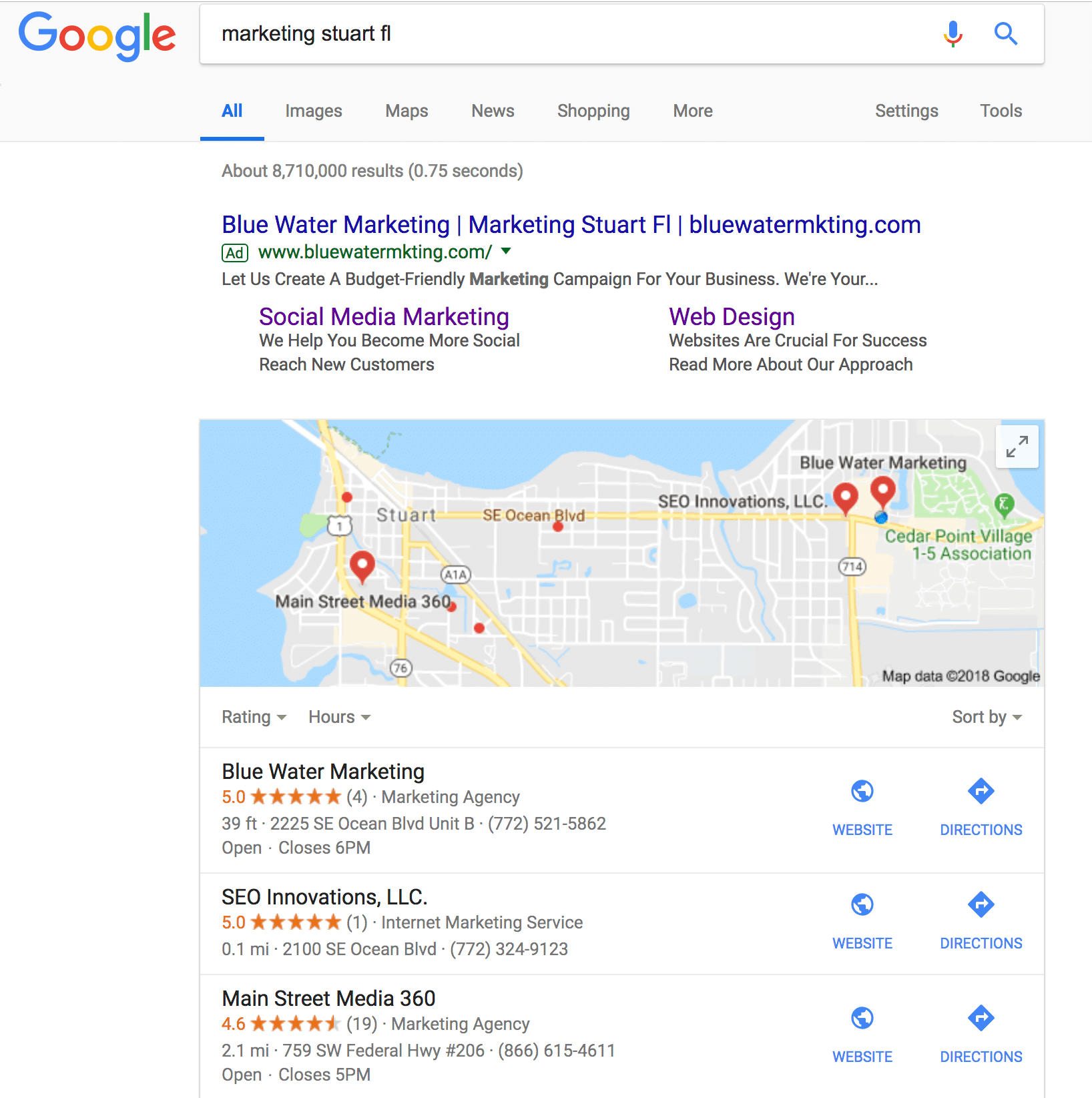 Importance of Local SEO local pack example