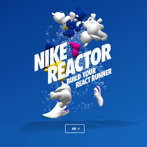 Nike ad with arrangement of shoes and bold text
