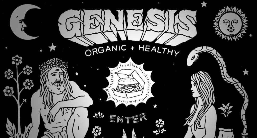 Image of Genesis' website showing a creative illustration with many elements.