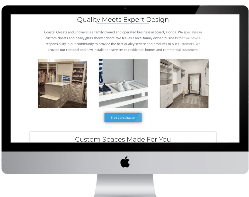 Coastal Closets Web Design Section
